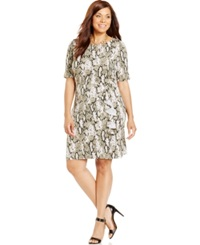 Jones New York Collection Plus Size Printed Faux Wrap Dress