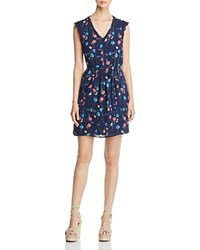 Daniel Rainn Floral Print V Neck Dress Indigo