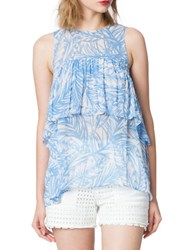 Plenty By Tracy Reese Flounce Contrast Back Top Blue Leaves