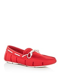 Swims Braided Lace Rubber Loafers Red