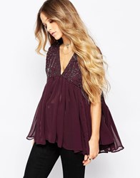 Hazel V Neck Embellished Swing Top Purple