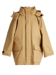Balenciaga Stow Away Hood Stretch Cotton Ripstop Parka Beige