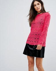 Club L Crochet Detail High Neck Top Red Rouge