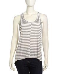 W By Wilt Slouchy Striped Jersey Tank Gray White