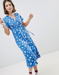 People Tree Wrap Midi Dress In Floral Blue
