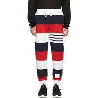 Thom Browne Red And White Rugby Stripe Lounge Pants