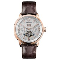 Ingersoll Men's The Regent Automatic Chronograph Date Heartbeat Leather Strap Watch Brown Silver