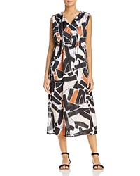 Kenneth Cole Triple Tie Neck Abstract Print Midi Dress Embroidered Shapes Black