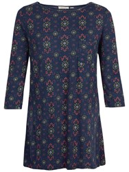 Fat Face Freesia Folk Geo Floral Top Navy