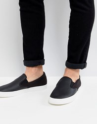 Fred Perry Underspin Slip On Leather Trainers In Black
