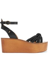 Etoile Isabel Marant Zia Paneled Woven Textured And Snake Effect Leather Wedge Sandals Black