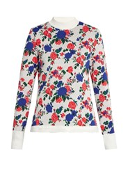 Msgm Floral Print High Neck Sweater White Multi