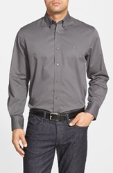 Nordstrom Men's Big And Tall Men's Shop Smartcare Tm Traditional Fit Twill Boat Shirt Grey Shade