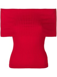 Ralph Lauren Collection Off Shoulder Ribbed Top Red
