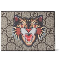Gucci Angry Cat Printed Coated Canvas And Leather Billfold Wallet Brown
