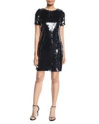 Milly Paillettes T Shirt Dress Black