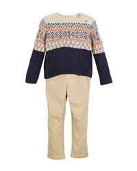 Mayoral Fair Isle Knit Sweater W Twill Pants Size 12 36 Months Blue