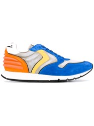 Voile Blanche Printed Panelled Sneakers Men Leather Suede Nylon Rubber 43 Blue