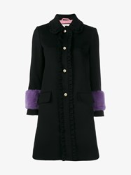Gucci Ruffle Wool Coat With Mink Cuffs Black Mink Pearl Purple