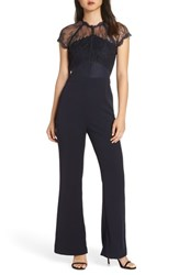 Harlyn Lace Illusion Top Jumpsuit Navy