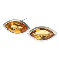Rhiannon Lewis Jewellery Silver And Marquise Citrine Studs Gold Silver Yellow