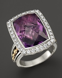 Lagos 18K Gold And Sterling Silver Prism Amethyst Statement Ring With Diamonds Silver Multi