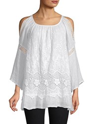 Saks Fifth Avenue Layered Lace Cold Shoulder Top White