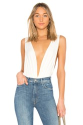 By The Way Jade Double V Bodysuit White