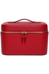 Smythson Woman Textured Leather Cosmetics Case Claret