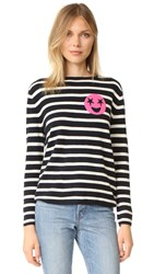 Chinti And Parker Breton Emoji Cashmere Sweater Navy Cream Pink
