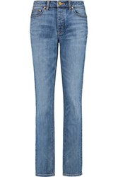 Tory Burch High Rise Straight Leg Jeans Mid Denim