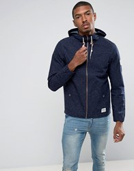 Tom Tailor Light Weight Hooded Jacket In Flecked Cotton Navy