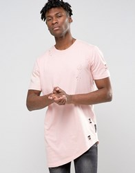 Criminal Damage T Shirt With Distressing Pink