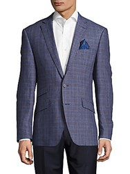 Todd Snyder Mayfair Fit Plaid Linen Jacket Navy