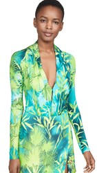 Versace Palm Print Low V Bodysuit Verde And Stampa