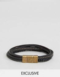 Seven London Multi Leather Bracelet In Black Exclusive To Asos Black