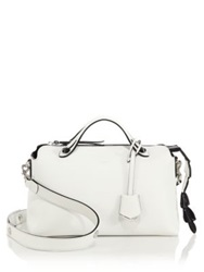 Fendi By The Way Small Crocodile Accented Satchel White Black