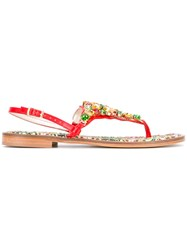 Emanuela Caruso Stones Embellished Flat Sandals Women Calf Leather Leather 38 Red