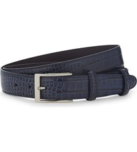 Elliot Rhodes Caribe Crocodile Effect Leather Belt Navy