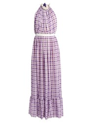 Emilio De La Morena Opaline Halterneck Sleeveless Silk Gown Light Purple