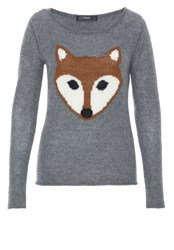 Hallhuber Cashmere Jumper With Fox Feature Silver