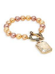 Heidi Daus Basic With A Twist Faux Pearl And Swarovski Crystal Bracelet Gold