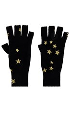 Autumn Cashmere Printed Stars Gloves In Black. Black And Gold
