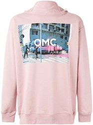 Omc Logo Print Hoodie Men Cotton S Pink Purple