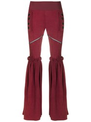 Andrea Bogosian Leather Wide Leg Trousers Red