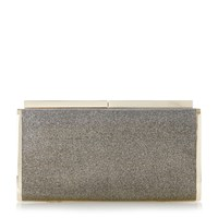 Dune Brixxton Patent Hard Case Clutch Bag Bronze