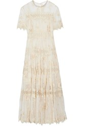 Zimmermann Tropicale Antique Lace Trimmed Crinkled Silk Chiffon Dress Ivory