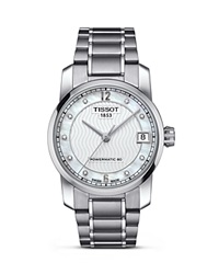Tissot Women's Titanium Automatic Watch With Diamonds 32Mm White