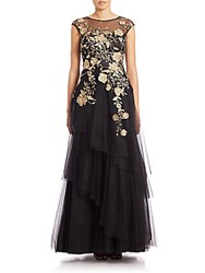 Teri Jon Floral Embroidered Tulle Ball Gown Black Gold