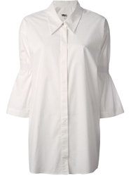 Mm6 By Maison Martin Margiela Oversized Three Quarter Length Sleeve Shirt White